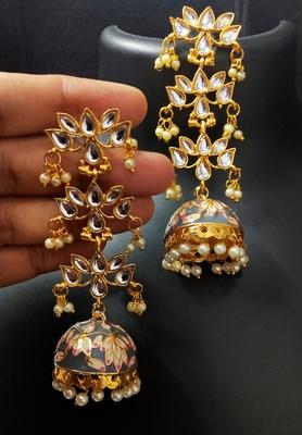 Grey Pink Long Kundan Meenakari Jhumki Hanging Earrings