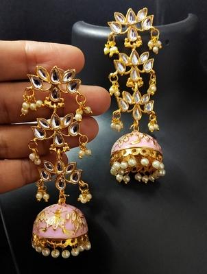 Magenta Pink Long Kundan Meenakari Jhumki Hanging Earrings