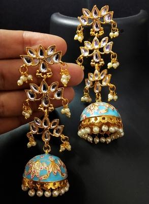 Blue Pink Long Kundan Meenakari Jhumki Hanging Earrings