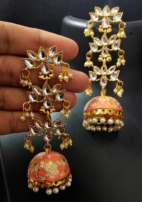Peech Pink Long Kundan Meenakari Jhumki Hanging Earrings