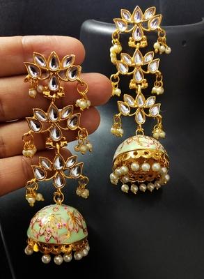 Mint Green Pink Long Kundan Meenakari Jhumki Hanging Earrings
