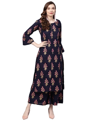 Women's Cotton Navy Blue Printed A-Line Kurta Palazzo Set