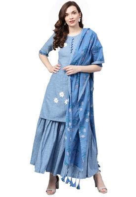 Women's Cotton Blue Embroidered A-Line Kurta Sharara Dupatta Set