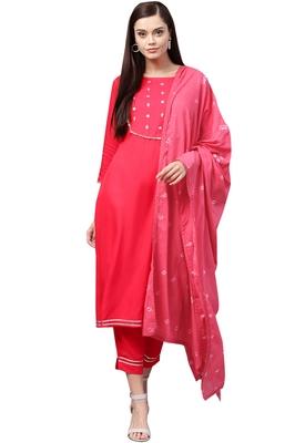 Women's Cotton Pink Embroidered A-Line Kurta Palazzo Dupatta Set