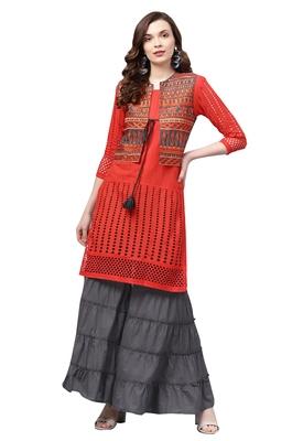 Women's Cotton Orange & Grey Embroidered A-Line Kurta Sharara Set With Jacket