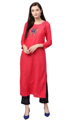 Women's Cotton Red & Navy Blue Embroidered A-Line Kurta Palazzo Set