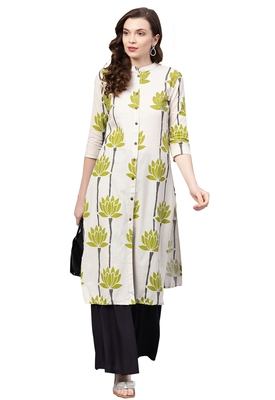 Women's Cotton Off White & Grey Printed A-Line Kurta Sharara Set