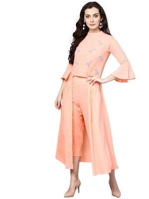 Women's Cotton Pink Embellished A-Line Kurta Palazzo Set