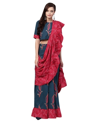 Women's Cotton Navy Blue & Pink Printed Ready To Wear Skirt Saree