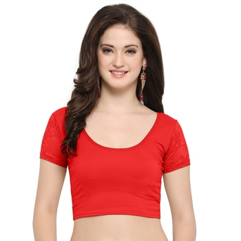 Women's Cotton Lycra Stretchable Readymade Blouse