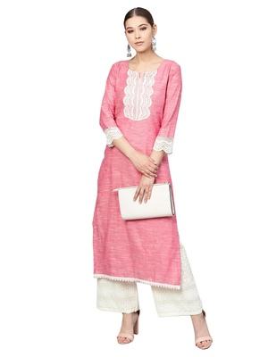Pink & White Handloom Cotton Lace Border Kurta Palazzo Set