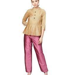 Beige & Pink Chanderi Cotton Solid Kurta With pant Set