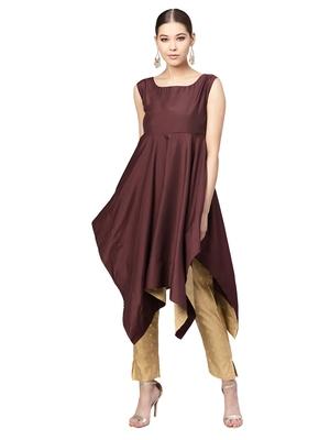 Purple & Beige Muslin Cotton Solid Kurta With Pant Set