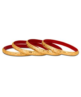 Guarantee Golden Dyed Bangles With Running Flower Design And Enamel Undercoating