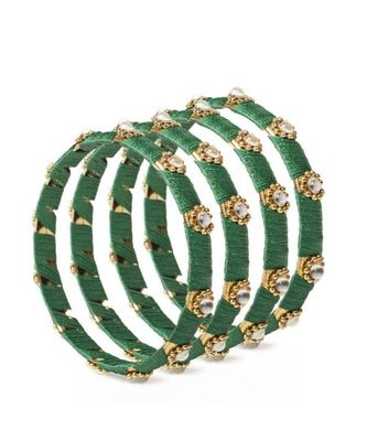 Set Of 4 Silk Thread Bracelets With Kundan Style Stone