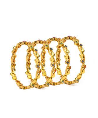 Set of 4 Jewellery-Like Bracelets with Multicolour Stones