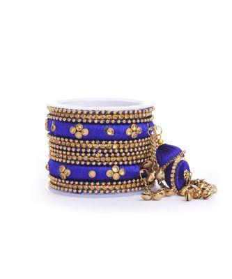 Set of 14 Silk Thread Jhumki Bangles designed for both hands by Leshya