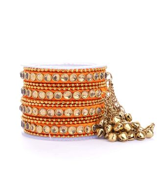 Set Of 12 Silk Thread Bangles With Ghungroo Designed For Both Hands By Leshya
