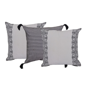 Reme Embroidered White Cotton  Square Cushion Covers