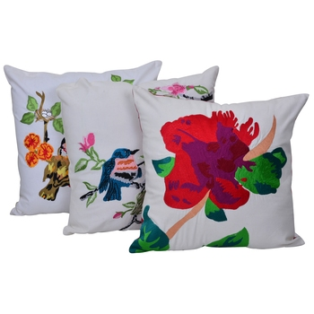 Reme Embroidered Multicolor Cotton Square Cushion Covers