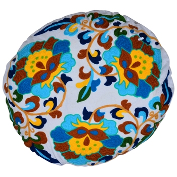 Reme Embroidered Cotton Round Cushion Covers For Sofa