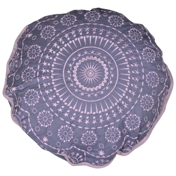 Reme Embroidered Cambric Grey Round Cushion Covers for sofa