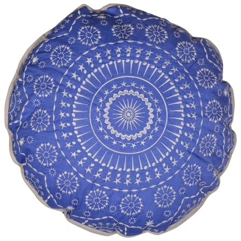 Reme Embroidered Cambric Blue Round Cushion Covers for sofa
