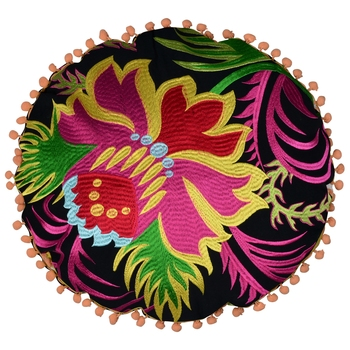 Reme Embroidered Cotton Multicolor Round Cushion Covers For Sofa