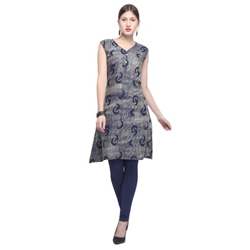 Blue printed rayon party wear kurtis