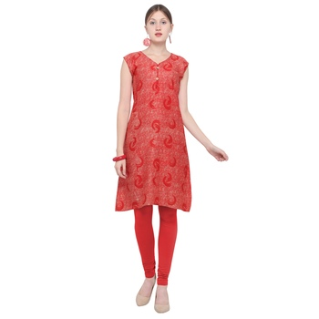 Red printed rayon party wear kurtis