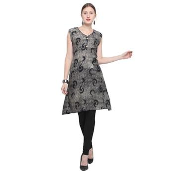 Black printed rayon party wear kurtis
