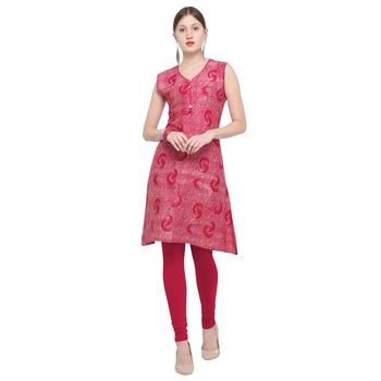Pink printed rayon party wear kurtis