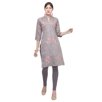 Grey embroidered cotton party wear kurtis