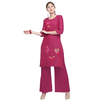 Pink embroidered rayon party wear kurtis