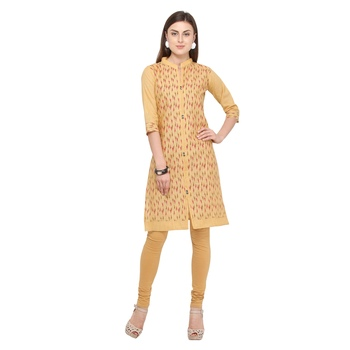 Beige printed cotton party wear kurtis