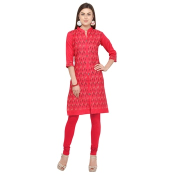 Pink printed cotton party wear kurtis
