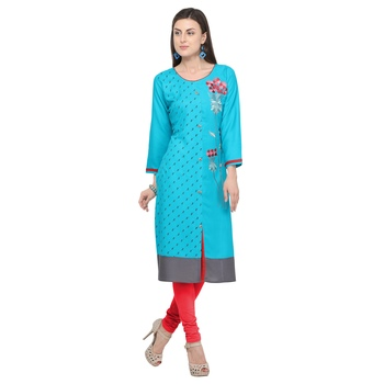 Blue embroidered rayon party wear kurtis