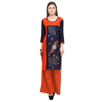 Dark blue embroidered rayon party wear kurtis