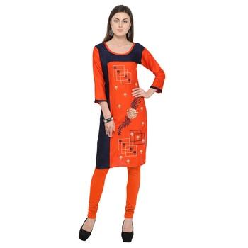 Orange embroidered rayon party wear kurtis