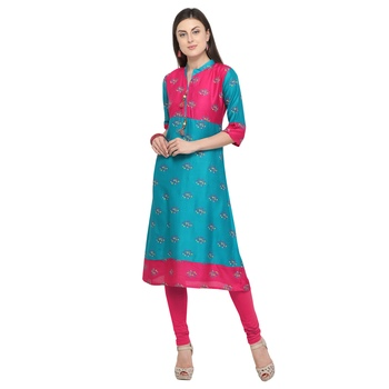 Turquoise printed rayon party wear kurtis