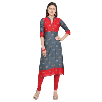 Grey printed rayon party wear kurtis