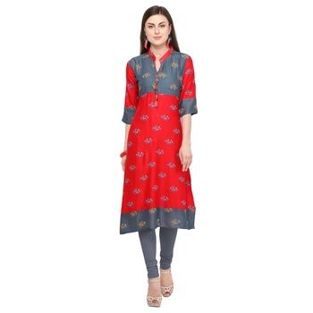 Red printed rayon party wear kurtis