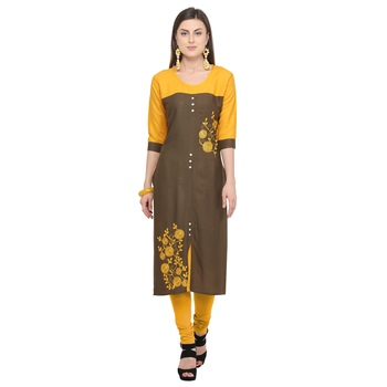 Brown embroidered rayon party wear kurtis