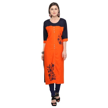 Orange embroidered rayon party wear kurtis