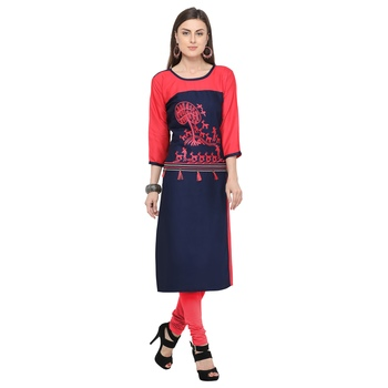 Dark blue embroidered rayon party wear kurtis