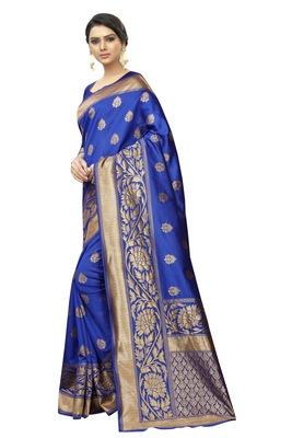 blue woven banarasi saree with blouse