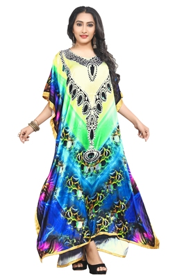 Justkartit Women's Beach Wear Satin Silk Digital Printed Caftan Kaftan