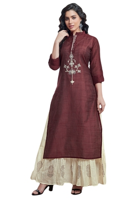 Women's Maroon & Cream Embroidered Readymade Suit Set