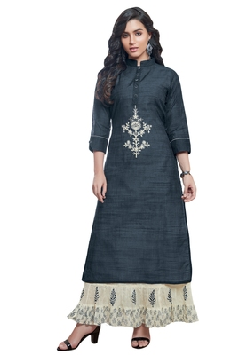 Women's Navy Blue & Cream Embroidered Readymade Suit Set