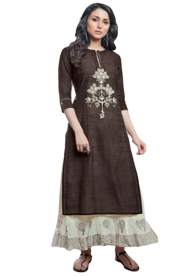 Women's Brown & Cream Embroidered Readymade Suit Set
